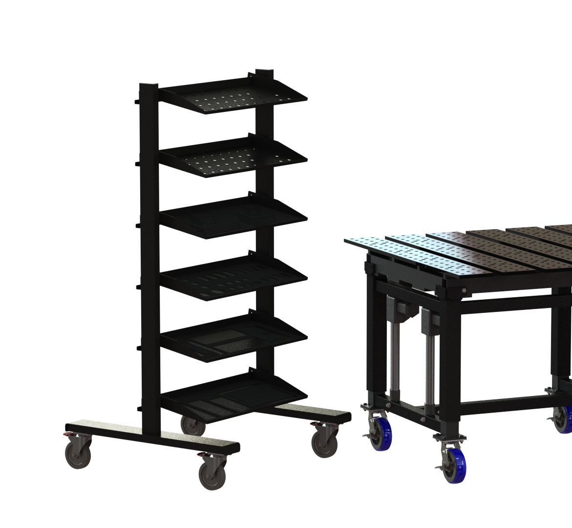 Welding table tool rack